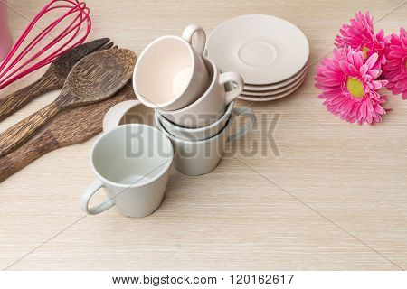 Coffee Cups Collection On Wooden Background