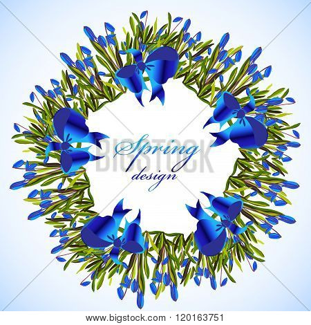 Bluebell flowers wreath.