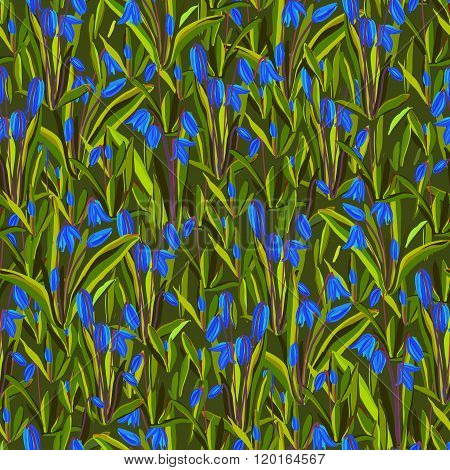 Bluebell flowers pattern.