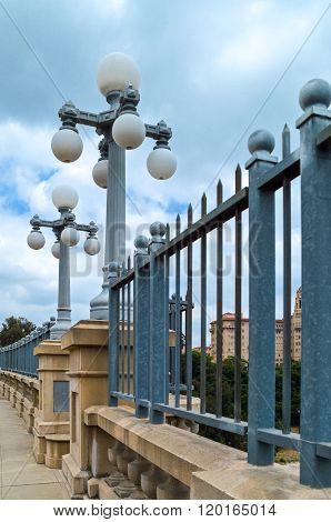 U.S.A., California, Route 66, Pasadena, the old lamps of the  Colorado bridge.