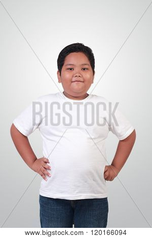 Fat Asian Boy Smiling Happily
