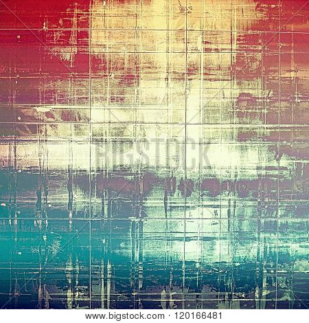 Grunge texture with decorative elements and different color patterns: yellow (beige); brown; blue; red (orange); purple (violet)