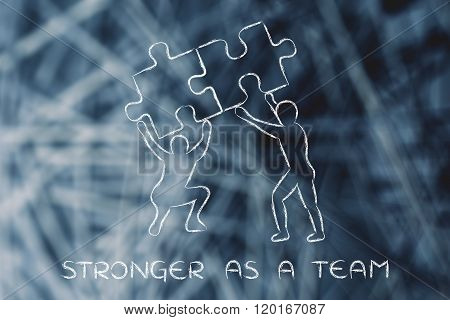 People Lifting Matching Pieces Of Puzzle, Stronger As A Team