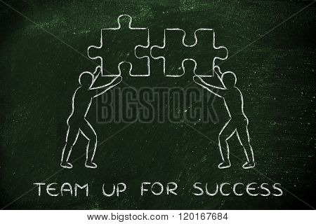 People With Matching Pieces Of Puzzle, Team Up For Success