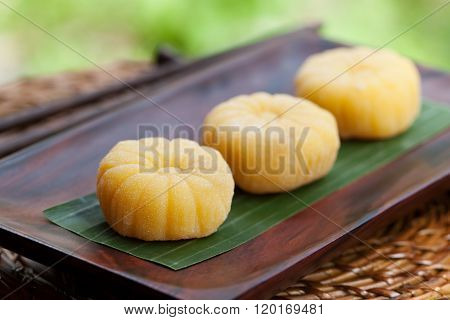 Mochi japanese dessert with mango Outdoor garden background