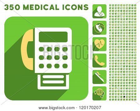 Fax Icon and Medical Longshadow Icon Set