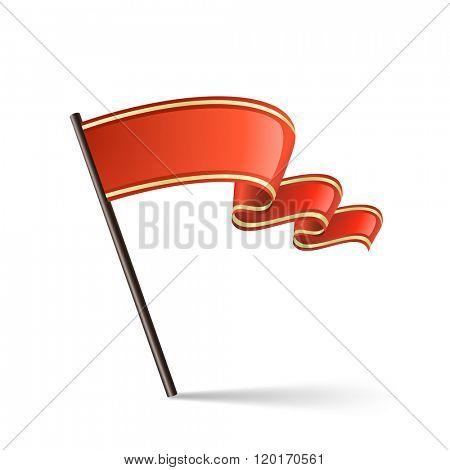Vector illustration of red waving flag