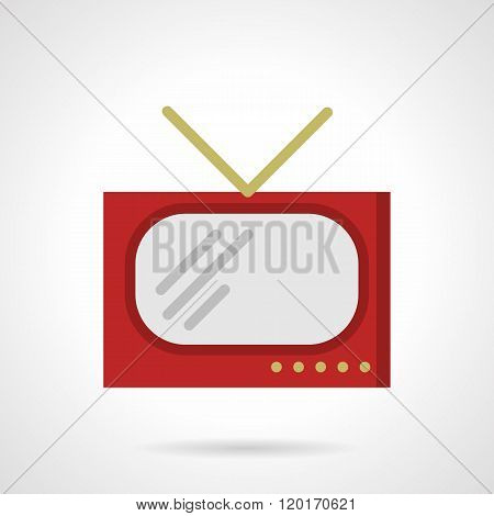 Red retro TV flat color design vector icon