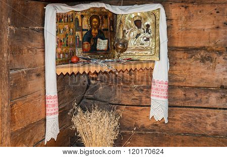 Antique Russian Orthodox Icons Painted On Wooden Board