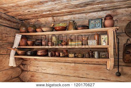 Vintage Wooden Shelf With Old Ceramic Tableware