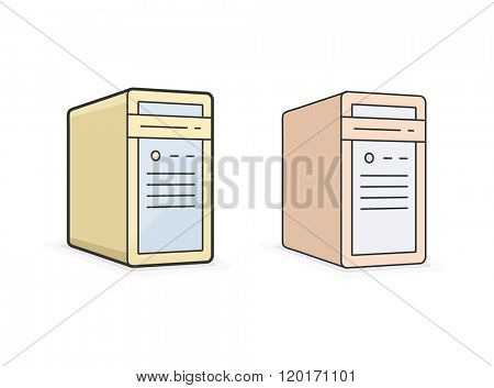 Computer icon. Vector icon of PC workstation computer. Linear style vector illustration