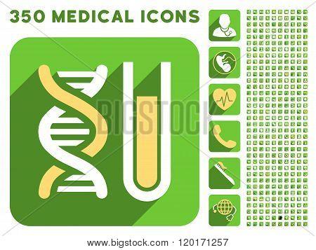 Genetic Analysis Icon and Medical Longshadow Icon Set