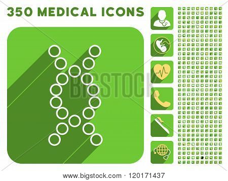 Genome Icon and Medical Longshadow Icon Set