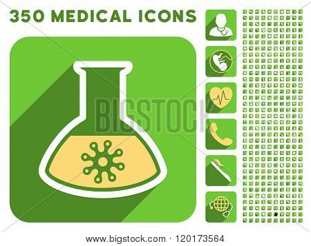 Infection Container Flask Icon and Medical Longshadow Icon Set