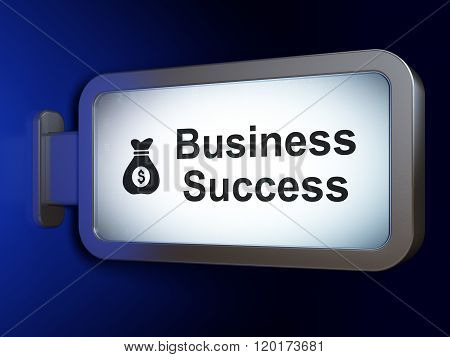 Finance concept: Business Success and Money Bag on billboard background