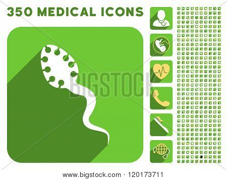 Infectious Microbe Icon and Medical Longshadow Icon Set