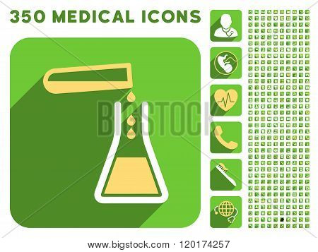 Liquid Transfusion Icon and Medical Longshadow Icon Set