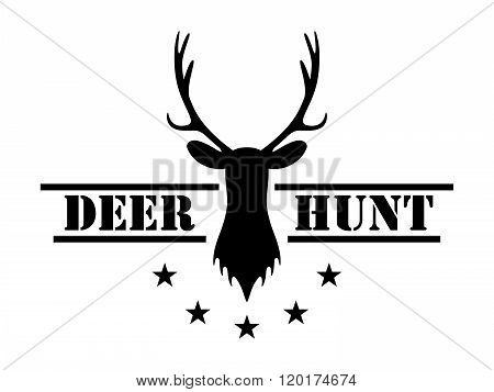 Deer hunt. Hunting club logo in vintage style.