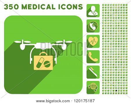 Medical Drone Shipment Icon and Medical Longshadow Icon Set