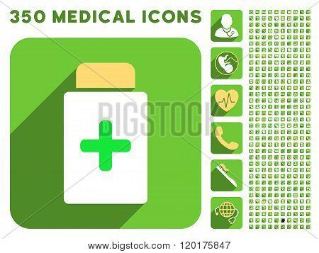Medication Bottle Icon and Medical Longshadow Icon Set