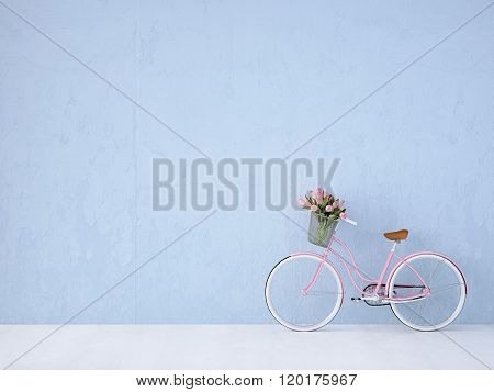 retro vintage bicycle old and blue wall. 3d rendering