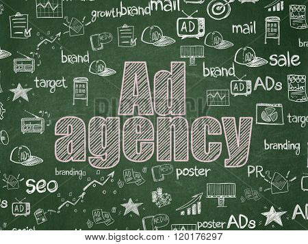 Advertising concept: Ad Agency on School Board background
