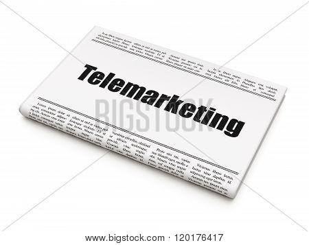 Advertising concept: newspaper headline Telemarketing