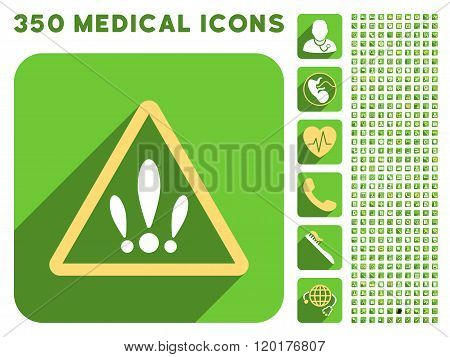 Multiple Problems Icon and Medical Longshadow Icon Set