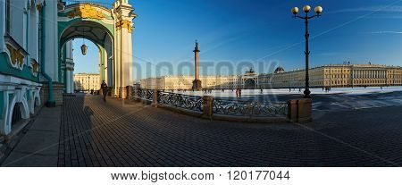 Russia, Saint-Petersburg, 1 March 2016: Palace Square in winter, Alexander Column, Winter Palace, the arch of the Main Staff, the Admiralty, at sunset, the designer Rossi triumphal chariot