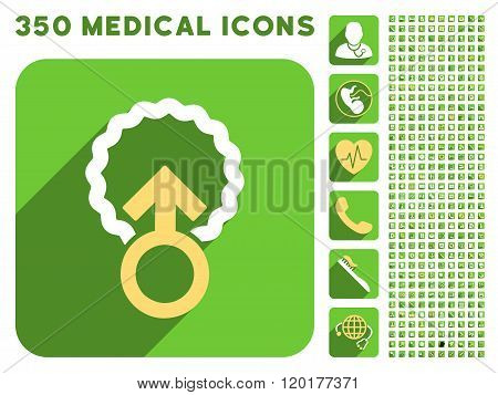Ovum Penetration Icon and Medical Longshadow Icon Set