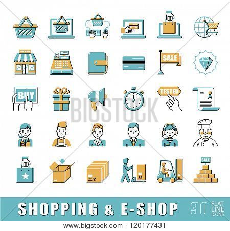 Set of e-commerce icons. Various shopping icons. Flat line premium quality elements. Can be applied for websites for online shopping.