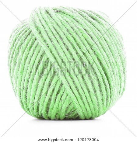 Green Wool Skein, Knitting Thread Ball Isolated On White Background