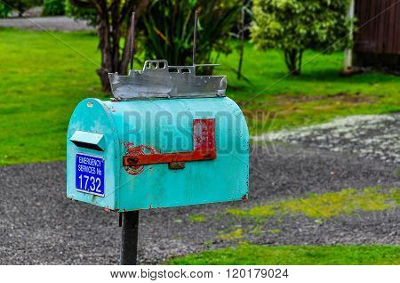 Colorful Mailbox In Queen Charlotte Road, New Zealand