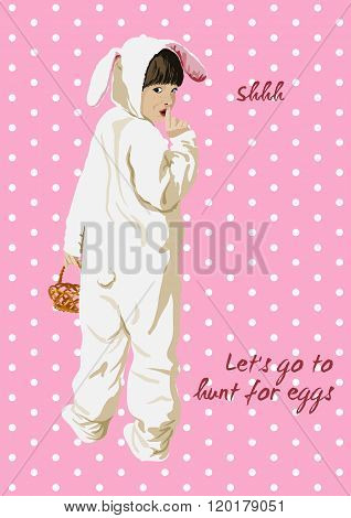 Easter card. Girl in bunny costume with basket.
