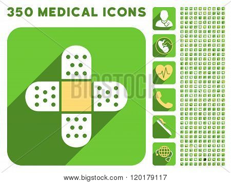 Plaster Cross Icon and Medical Longshadow Icon Set