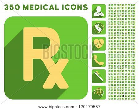 Prescription Symbol Icon and Medical Longshadow Icon Set