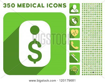 Price Tag Icon and Medical Longshadow Icon Set