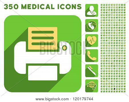 Print Icon and Medical Longshadow Icon Set