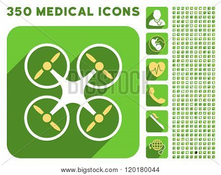 Quadcopter Icon and Medical Longshadow Icon Set