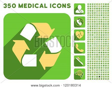 Recycle Icon and Medical Longshadow Icon Set