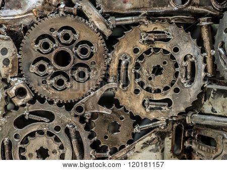 A Pile Of Welded Gears. Macro View