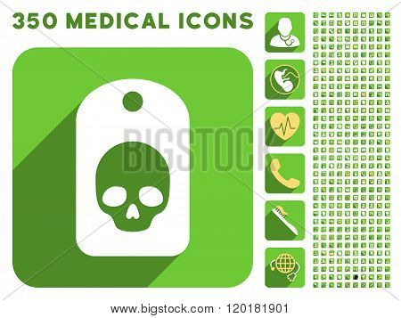 Skull Label Icon and Medical Longshadow Icon Set
