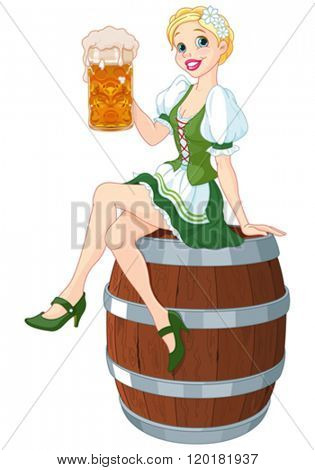 German girl sits on the keg and holds mug