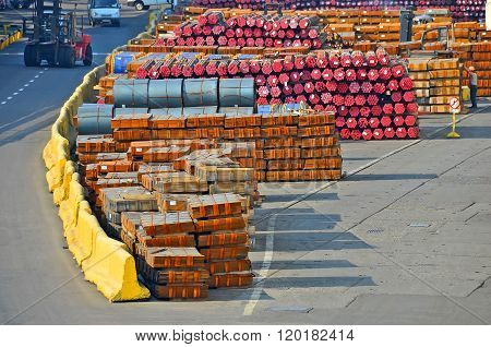 Stacked PVC pipe and metal sheet