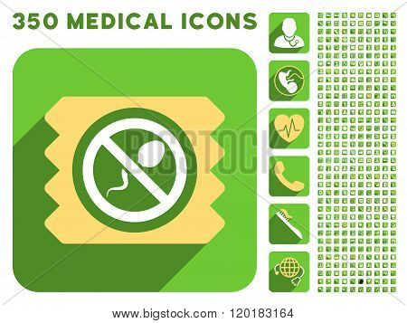 Spermicide Condom Icon and Medical Longshadow Icon Set