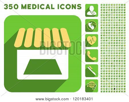 Store Facade Icon and Medical Longshadow Icon Set
