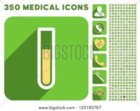 Test Tube Icon and Medical Longshadow Icon Set