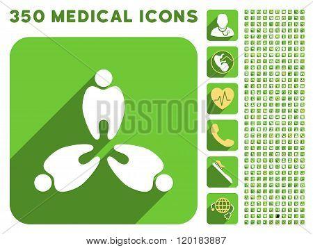 Three Teeth Icon and Medical Longshadow Icon Set