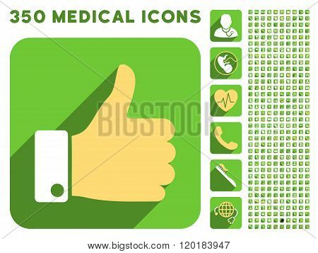 Thumb Up Icon and Medical Longshadow Icon Set