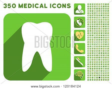 Tooth Icon and Medical Longshadow Icon Set